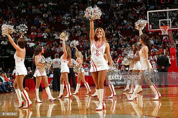 Basketball Houston Rockets cheerleaders on court during game vs Denver Nuggets Houston TX 1/8/2006