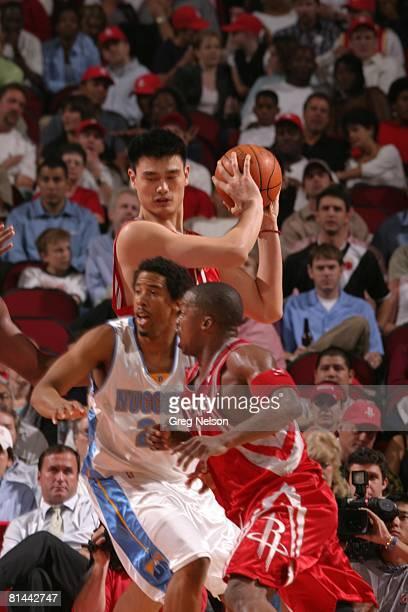Basketball Houston Rockets Yao Ming in action vs Denver Nuggets Houston TX