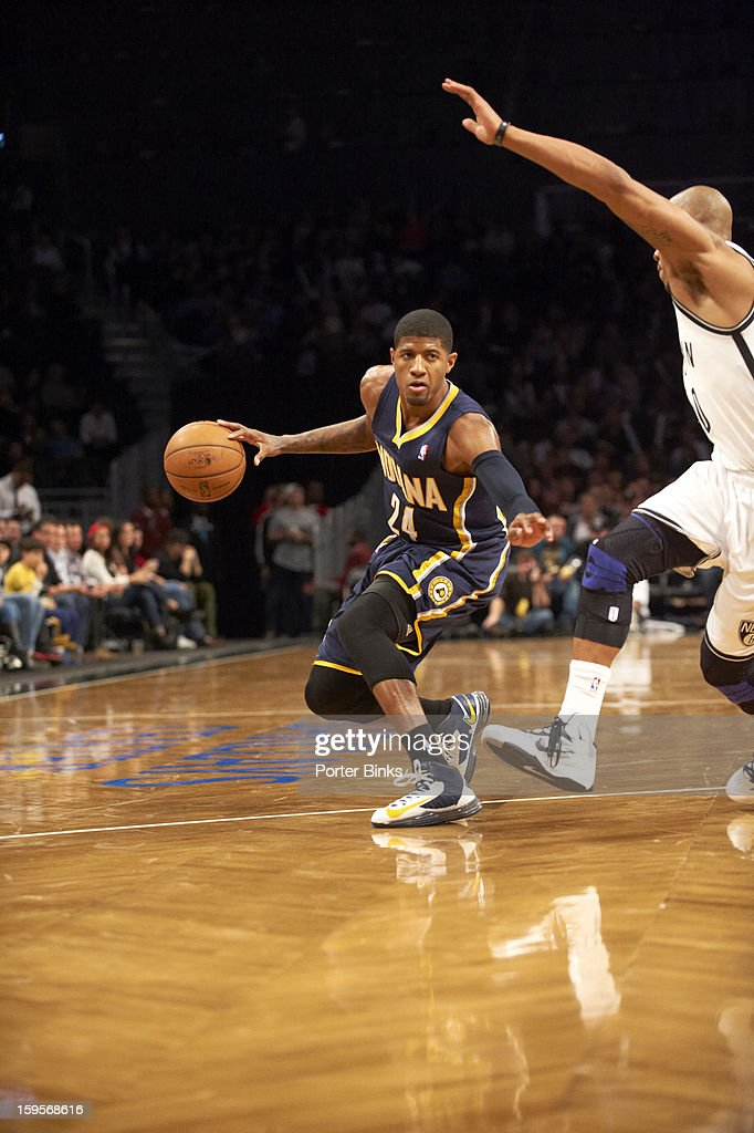 Indiana Pacers Paul George in action vs Brooklyn Nets at