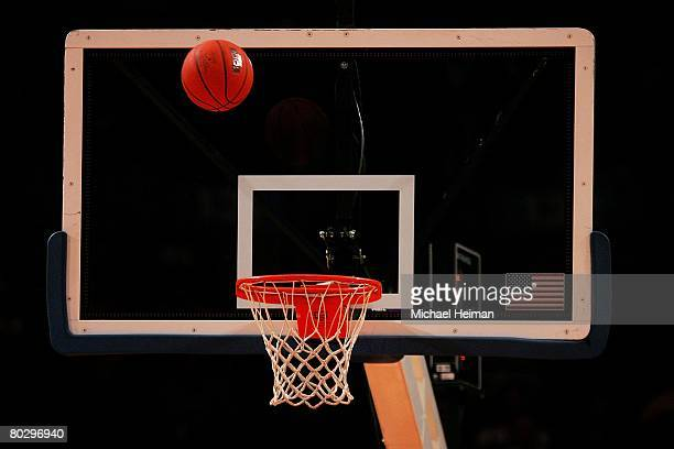 Basketball is shot towards the hoop and backboard during the 2008 Big East Men's Basketball Championship at Madison Square Garden on March 12, 2008...