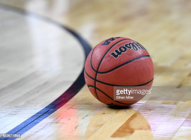 A basketball is shown on the court during a firstround game of the Pac12 Basketball Tournament between the Stanford Cardinal and the Arizona State...