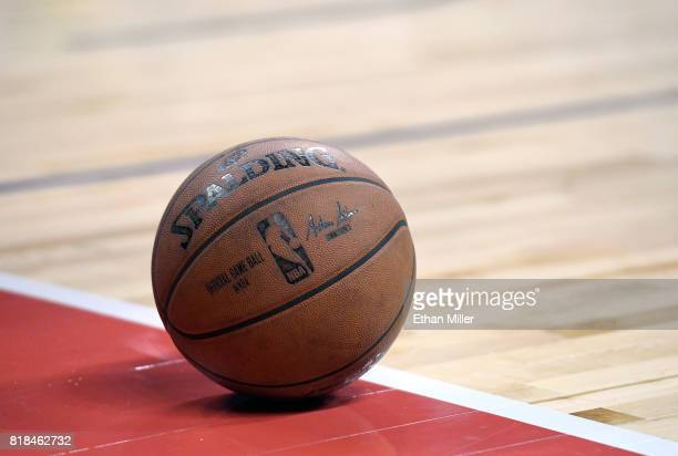 A basketball is shown on the court during the championship game of the 2017 Summer League between the Los Angeles Lakers of the Portland Trail...