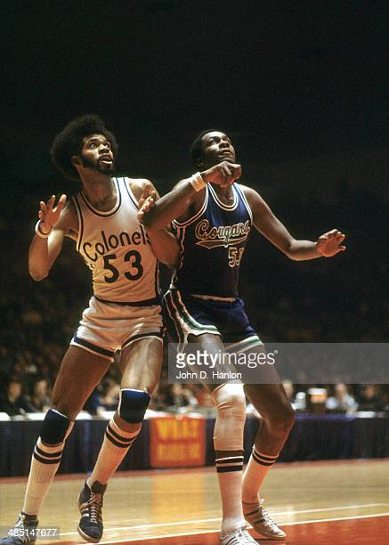 Kentucky Colonels Artis Gilmore in action vs Carolina Cougars Jim Chones at Freedom Hall Louisville KY CREDIT John D Hanlon