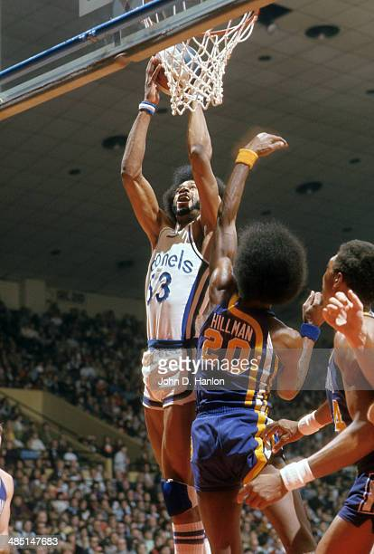 Kentucky Colonels Artis Gilmore in action vs Indiana Pacers Darnell Hillman at Freedom Hall Louisville KY CREDIT John D Hanlon