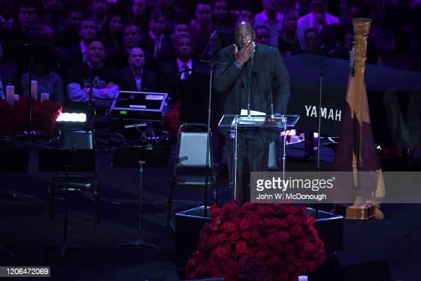 Kobe Bryant Memorial Basketball Hall of Famer and Charlotte Bobcats owner Michael Jordan speaks on stage during memorial service at Staples Center...