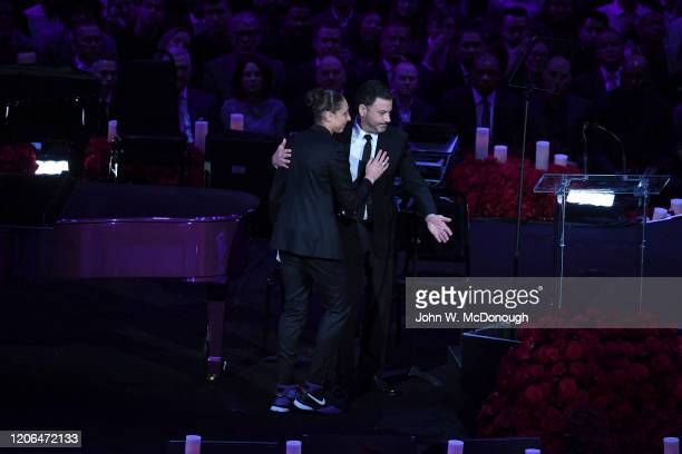 Kobe Bryant Memorial: Celebrity television host Jimmy Kimmel and Phoenix Mercury Diana Taurasi on stage during memorial service at Staples Center....