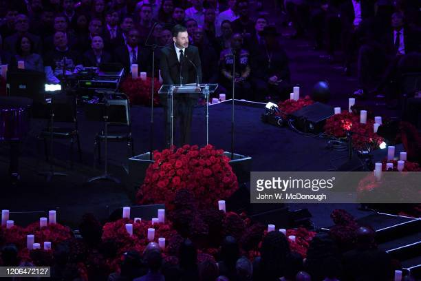 Kobe Bryant Memorial: Celebrity television host Jimmy Kimmel speaks on stage during memorial service at Staples Center. Thousands attended a public...