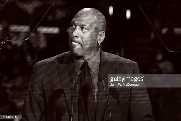 Kobe Bryant Memorial Closeup of video screen of basketball Hall of Famer and Charlotte Bobcats owner Michael Jordan speaking on stage during memorial...