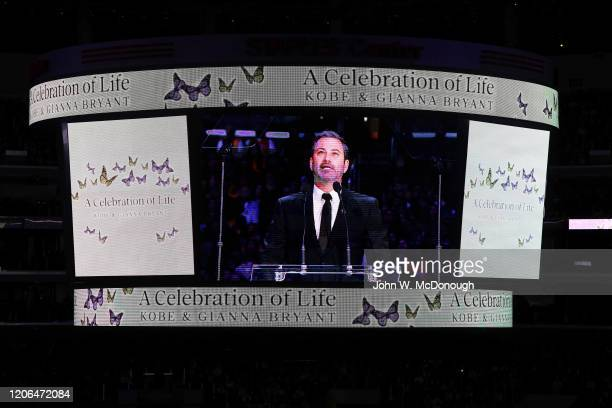 Kobe Bryant Memorial: View of celebrity television host Jimmy Kimmel on video screen during memorial service at Staples Center. Thousands attended a...