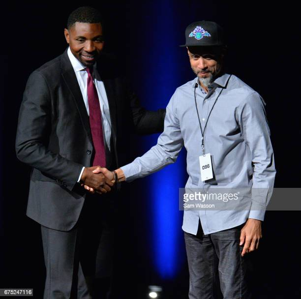 BIG3 basketball league President and Commissioner Roger Mason Jr greets Mahmoud AbdulRauf after he was selected in the 2017 BIG3 draft at Planet...