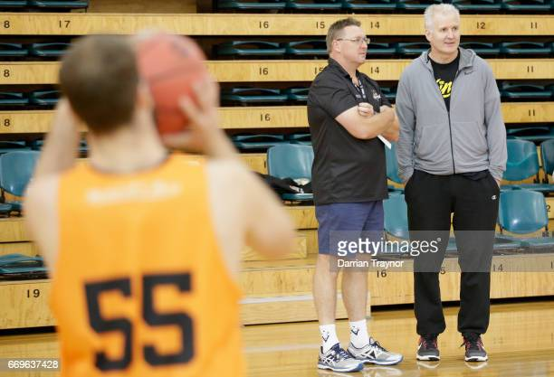 Basketball legend and Sydney Kings coach Andrew Gaze looks on during the NBL Combine 2017/18 at Melbourne Sports and Aquatic Centre on April 18 2017...