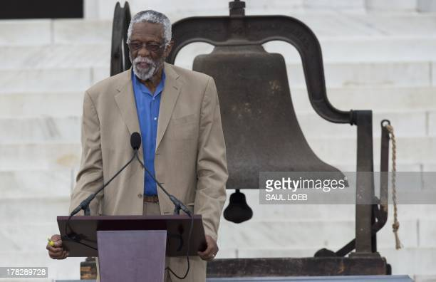 NBA basketball legend Bill Russell speaks during the Let Freedom Ring Commemoration and Call to Action marking the 50th anniversary of the March on...
