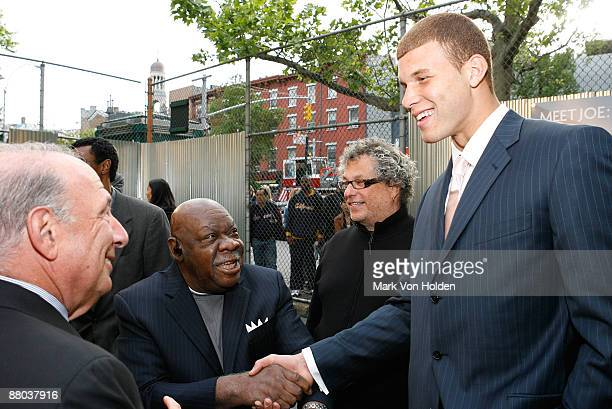 Basketball legend Cal Ramsey shakes NBA Draft top prospect for 2009 basketball player Blake Griffin at the fall 2009 collection preview for JOE...