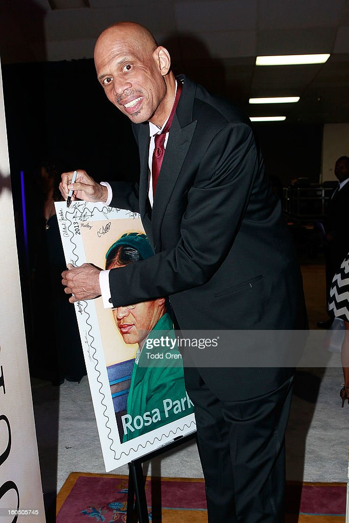 Basketball Legend Kareem Abdul-Jabaar previews the Rosa Parks Forever Stamp in the U.S. Postal Service Civil Rights Stamp Gallery backstage at the NAACP Image Awards on February 1, 2013 at The Shrine Auditorium.