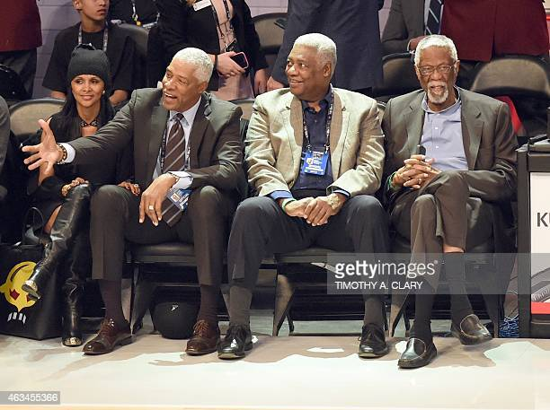 Basketball legends Julius Erving aka 'Dr J' Oscar Robertson and Bill Russell attend the State Farm AllStar Saturday Night at the Barclays Center in...
