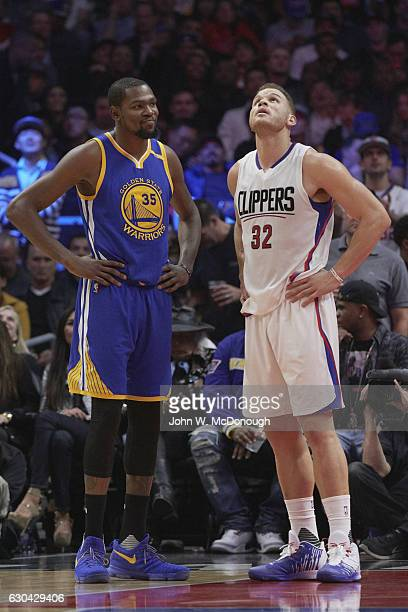 Los Angeles Clippers Blake Griffin and Golden State Warriors Kevin Durant during game at Staples Center Los Angeles CA CREDIT John W McDonough