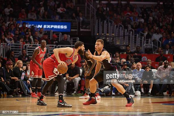 Los Angeles Clippers Blake Griffin in action defense vs Chicago Bulls Nikola Mirotic at Staples Center Los Angeles CA CREDIT John W McDonough
