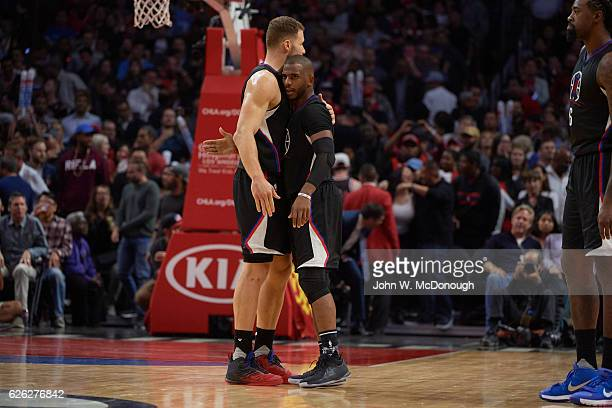 Los Angeles Clippers Blake Griffin victorious with Chris Paul during game vs Chicago Bulls at Staples Center Los Angeles CA CREDIT John W McDonough