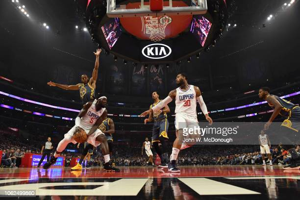 Los Angeles Clippers Montrezl Harrell in action vs Golden State Warriors Andre Iguodala at Staples Center Los Angeles CA CREDIT John W McDonough