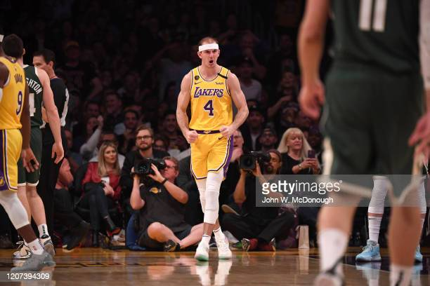 Los Angeles Lakers Alex Caruso victorious during game vs Milwaukee Bucks at Staples Center Los Angeles CA CREDIT John W McDonough