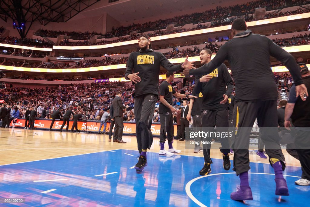 Los Angeles Lakers Brandon Ingram during introductions before game vs Dallas Mavericks at American Airlines Center. Greg Nelson TK1 )