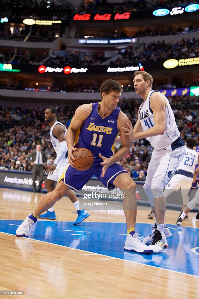 Los Angeles Lakers Brook Lopez (11) in action vs Dallas Mavericks Dirk Nowitzki (41) at American Airlines Center. Greg Nelson TK1 )