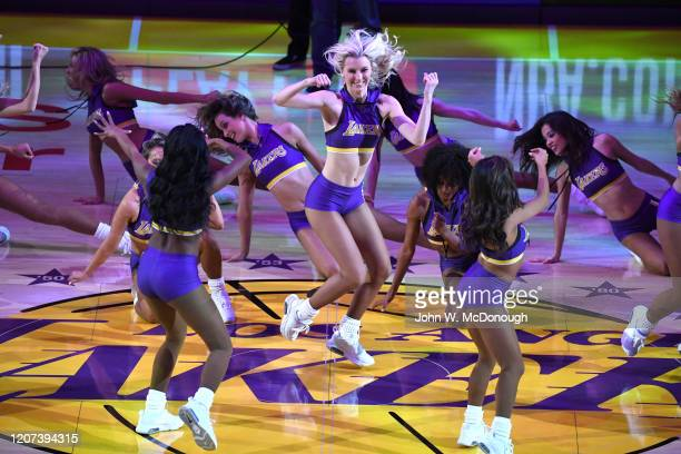 Los Angeles Lakers cheerleaders performing at halfcourt during game vs Milwaukee Bucks at Staples Center. Los Angeles, CA 3/6/2020 CREDIT: John W....