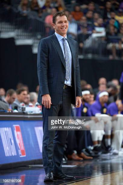 Los Angeles Lakers coach Luke Walton on sidelines during preseason game vs Golden State Warriors at T Mobile Arena Las Vegas NV CREDIT John W...