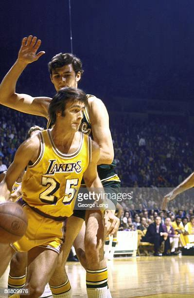 Los Angeles Lakers Gail Goodrich in action vs Seattle SuperSonics Inglewood CA CREDIT George Long