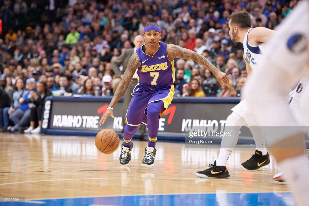 Los Angeles Lakers Isaiah Thomas (7) in action vs Dallas Mavericks at American Airlines Center. Greg Nelson TK1 )
