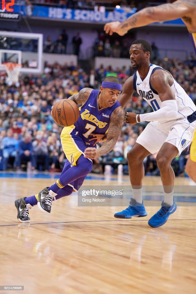 Los Angeles Lakers Isaiah Thomas (7) in action vs Dallas Mavericks Harrison Barnes (40) at American Airlines Center. Greg Nelson TK1 )