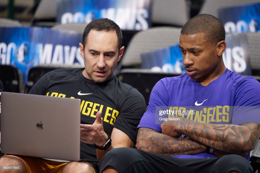 Los Angeles Lakers Isaiah Thomas (7) with assistant coach Jesse Mermuys before game vs Dallas Mavericks at American Airlines Center. Greg Nelson TK1 )