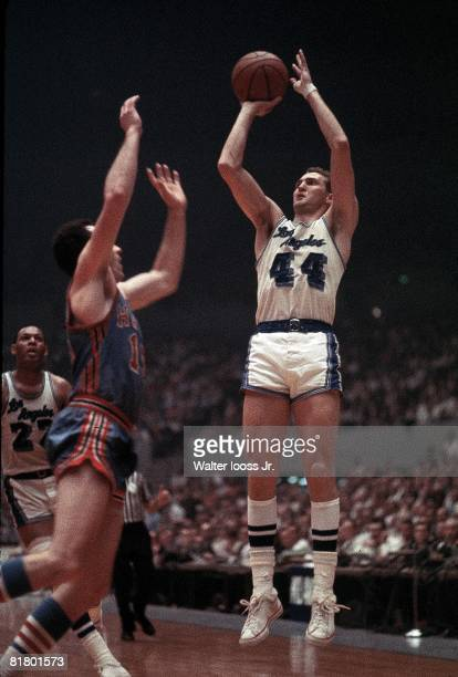 Basketball Los Angeles Lakers Jerry West in action taking shot vs St Louis Hawks Los Angeles CA 4/15/1966