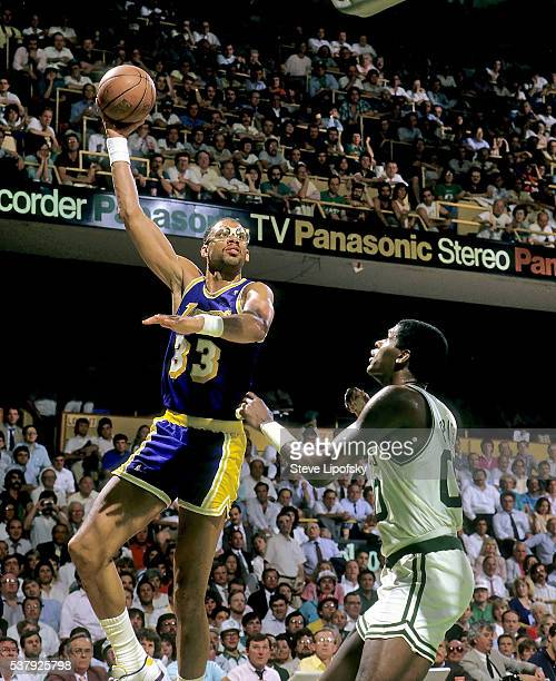 Los Angeles Lakers Kareem Abdul Jabbar in action vs Boston Celtics Robert Parish at Boston Garden Boston MA CREDIT Steve Lipofsky