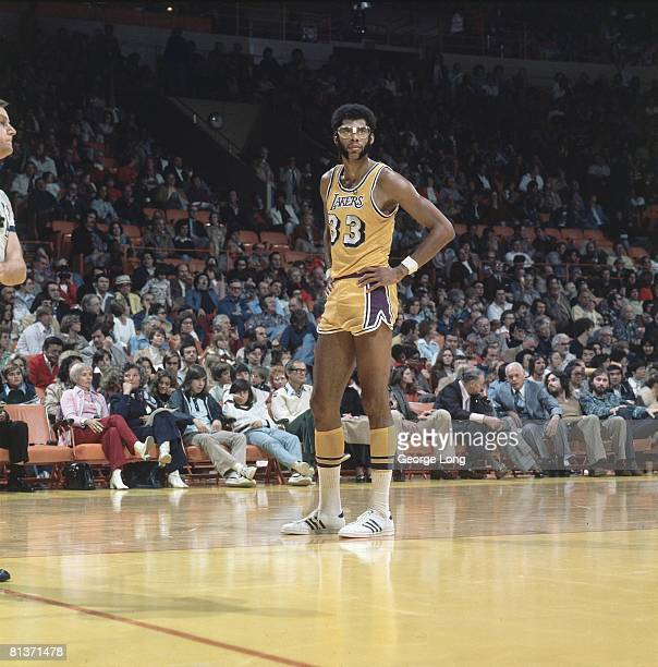 Basketball Los Angeles Lakers Kareem AbdulJabbar on court during game vs Milwaukee  Bucks Inglewood CA fcf63f551