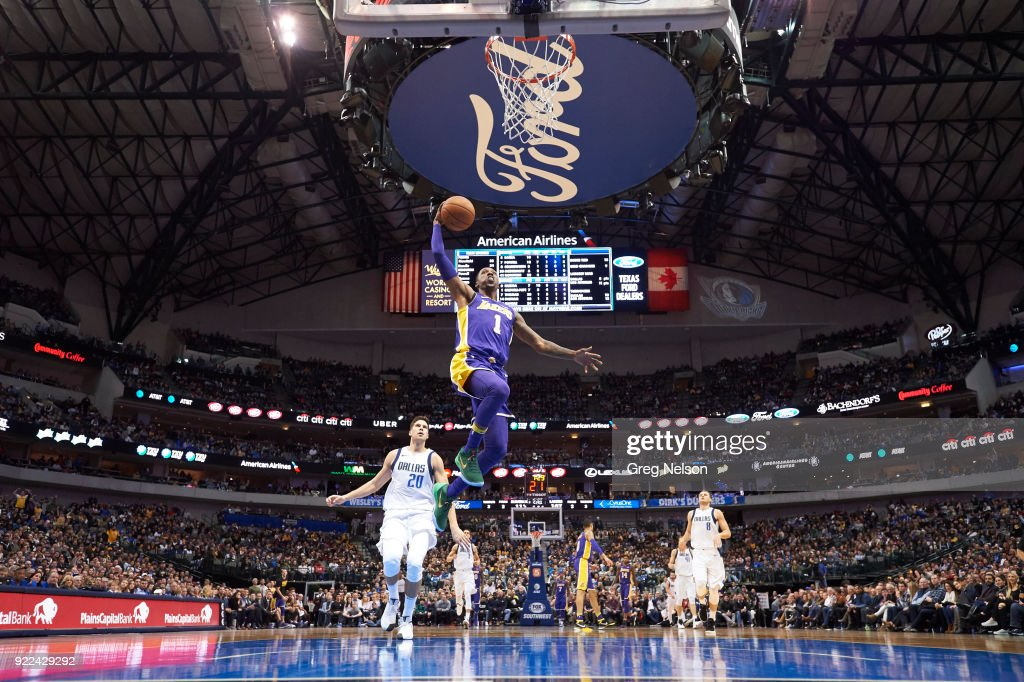 Los Angeles Lakers Kentavious Caldwell-Pope (1) in action vs Dallas Mavericks at American Airlines Center. Greg Nelson TK1 )