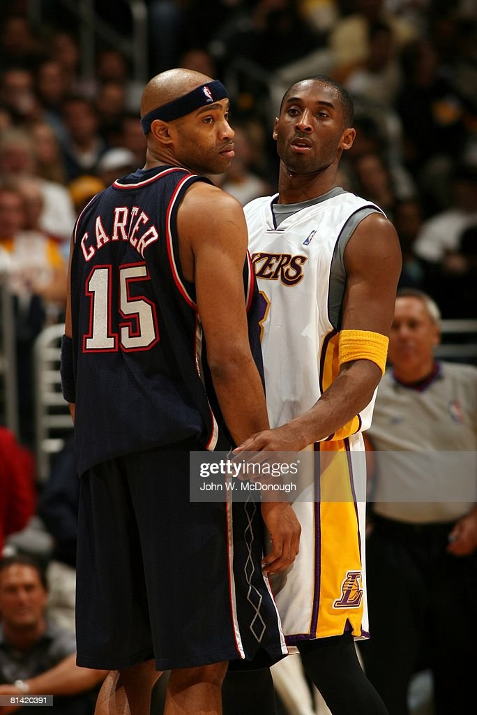 Los angeles lakers kobe bryant pictures getty images los angeles lakers kobe bryant 8 and new jersey nets vince carter 15 voltagebd Images