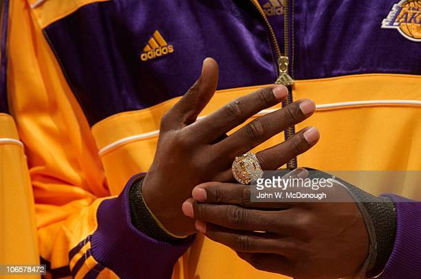 Los Angeles Lakers Kobe Bryant during ring ceremony before game vs Houston Rockets Los Angeles CA CREDIT John W McDonough