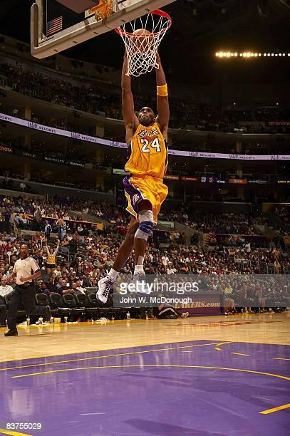 Los Angeles Lakers Kobe Bryant in action dunk vs Detroit Pistons Los Angeles CA CREDIT John W McDonough