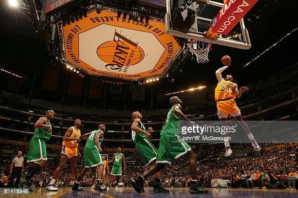 Basketball Los Angeles Lakers Kobe Bryant in action making dunk vs Boston Celtics Kevin Garnett Los Angeles CA