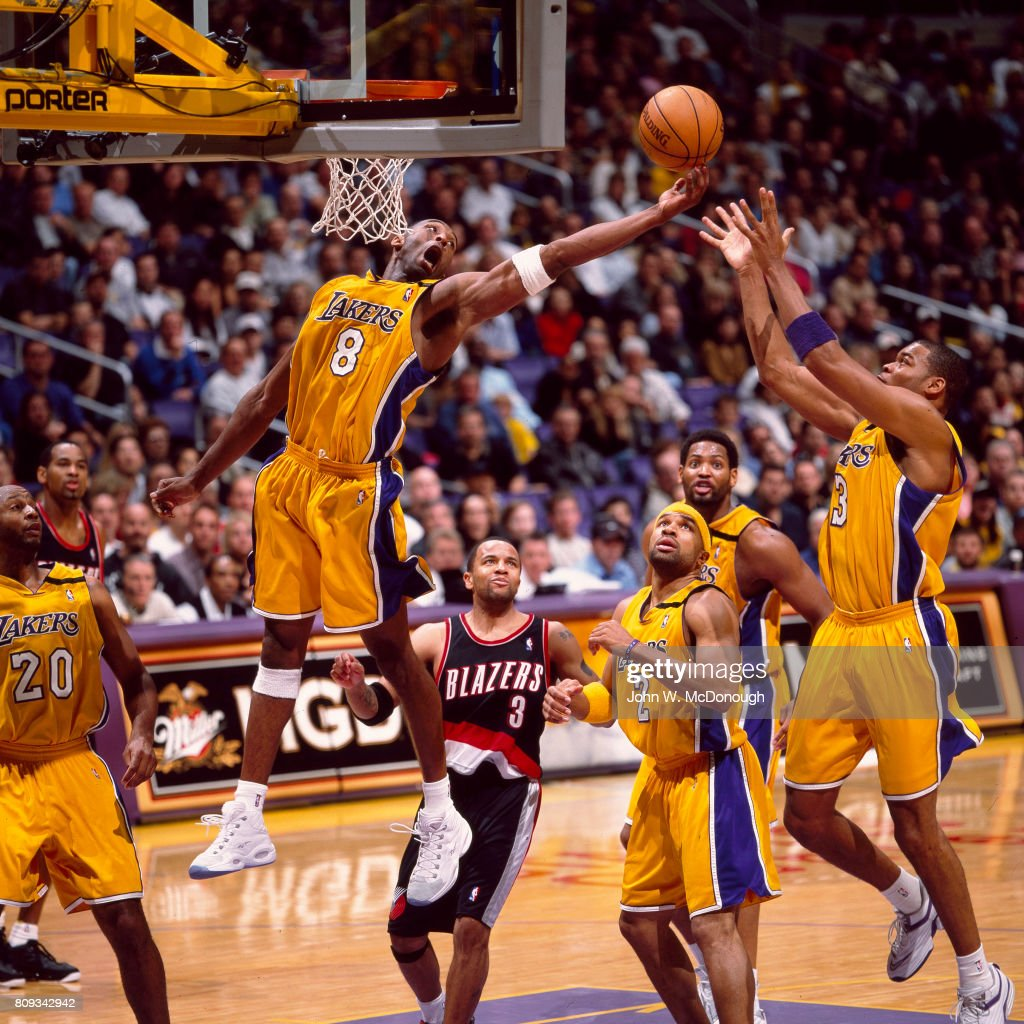 Blazers Vs Lakers: Los Angeles Lakers Kobe Bryant In Action, Rebounding Vs