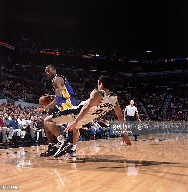 Basketball Los Angeles Lakers Kobe Bryant in action vs San Antonio Spurs Manu Ginobili San Antonio TX 12/3/2003