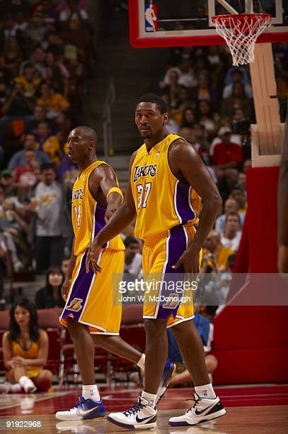 Los Angeles Lakers Kobe Bryant with Ron Artest during preseason game vs Golden State Warriors Anaheim CA 10/7/2009 CREDIT John W McDonough