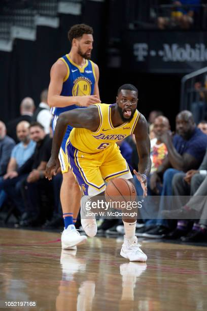 Los Angeles Lakers Lance Stephenson in action vs Golden State Warriors during preseason game at T Mobile Arena Las Vegas NV CREDIT John W McDonough