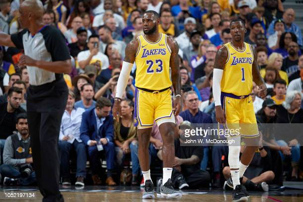 Los Angeles Lakers LeBron James and Kentavious CaldwellPope during preseason game vs Golden State Warriors at T Mobile Arena Las Vegas NV CREDIT John...