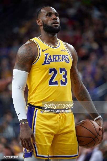 Los Angeles Lakers LeBron James during free throw during preseason game vs Golden State Warriors at T Mobile Arena Las Vegas NV CREDIT John W...