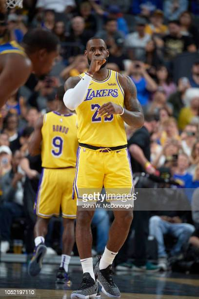 Los Angeles Lakers LeBron James during preseason game vs Golden State Warriors at T Mobile Arena Las Vegas NV CREDIT John W McDonough