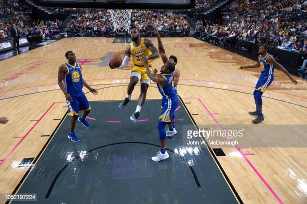 Los Angeles Lakers LeBron James in action vs Golden State Warriors during preseason game at T Mobile Arena Las Vegas NV CREDIT John W McDonough