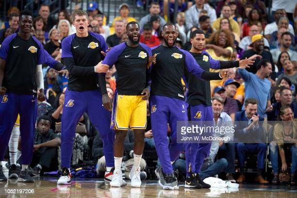 Los Angeles Lakers LeBron James with Lance Stephenson and Moritz Wagner during preseason game vs Golden State Warriors at T Mobile Arena Las Vegas NV...
