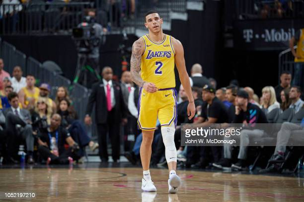 Los Angeles Lakers Lonzo Ball during preseason game vs Golden State Warriors at T Mobile Arena Las Vegas NV CREDIT John W McDonough